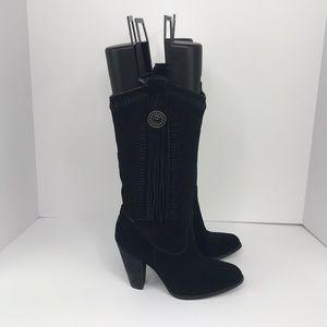 Reba Suede Leather Hades Black Cowboy Fringe Boots